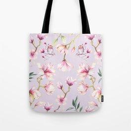 Magnolia & Birds Floral Spring Pattern Tote Bag