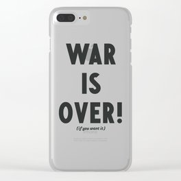 War is over, if you want it, peace message, vintage illustration, anti-war, Happy Xmas, song quote Clear iPhone Case