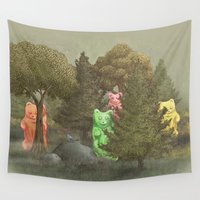 bears Wall Tapestries featuring Wild Gummy Bears by Terry Fan