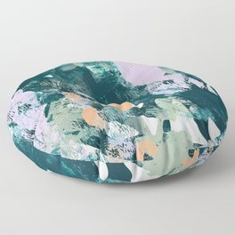 Sugar and Flowers: a pretty abstract acrylic painting in blues greens and lavender  Floor Pillow