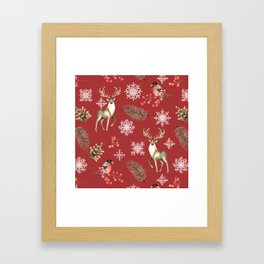 Deer and bullfinches Framed Art Print