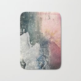 Reckless [6]: a colorful, abstract mixed-media piece in pinks, blues, white and gold Bath Mat