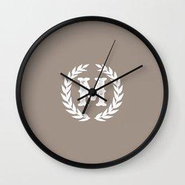 Beige Monogram: Letter M Wall Clock