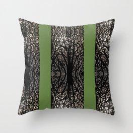 Gothic tree striped pattern green Throw Pillow