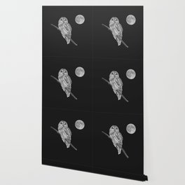 Owl, See the Moon (bw, sq) Wallpaper