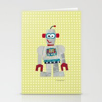 50s Stationery Cards featuring strumm 50s robot  by blossyfloss
