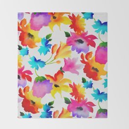 Dancing Floral Throw Blanket