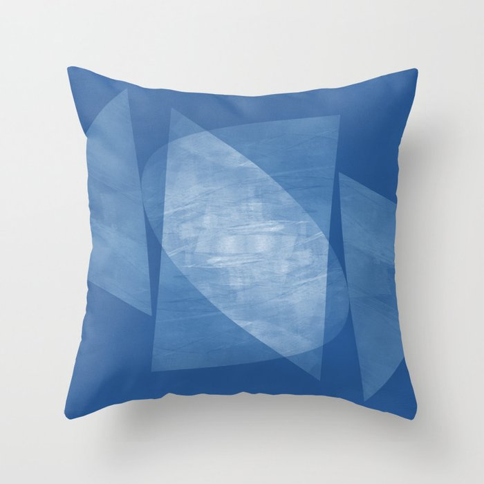 Blue Geometric Abstract Mid Century Modern Throw Pillow By Mininst