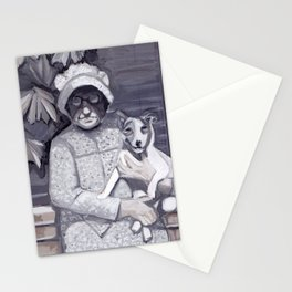 An Old Lady and Her Little Dog in Gouache Stationery Cards