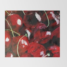 Cherries - Still Life In Acrylics Original Fine Art Throw Blanket