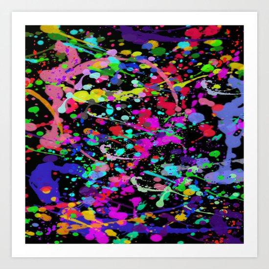 Paint Splatter 1 - Black Art Print