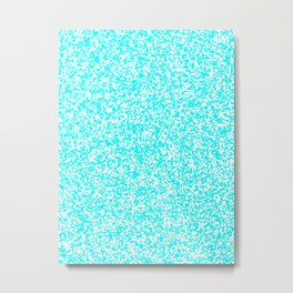 Tiny Spots - White and Aqua Cyan Metal Print