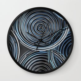 Black, white and blue spiraled coils Wall Clock