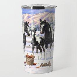 Black Pinto Horse Family Paint Horses In Snow Travel Mug