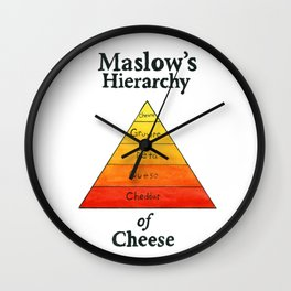 Maslow's Hierarchy of Cheese Wall Clock