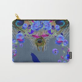 BLUE  NATURE FLORAL FANTASY DREAMS Carry-All Pouch