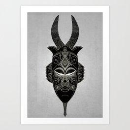 Horned tribal mask Art Print