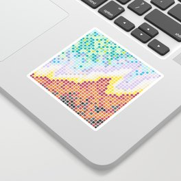 Pixelated Nebula Red Sticker