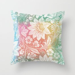 Abstract Pattern:  Watercolor Summery Brights 1 Shabbalicious Floral Orange Throw Pillow