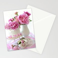 Shabby Chic Pink and White Peony Romantic Prints and Home Decor Stationery Cards