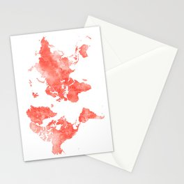 Living coral watercolor world map Stationery Cards