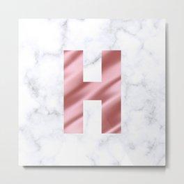 Pink Silk on Marble Initial Monogram Letter H Metal Print