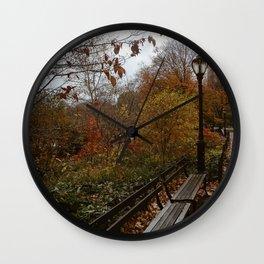 NYC Fall Benches Wall Clock
