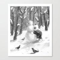 snowman Canvas Prints featuring snowman by MyMoonart