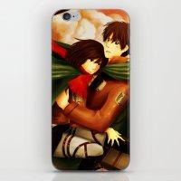 shingeki no kyojin iPhone & iPod Skins featuring Shingeki no Kyojin ~Eren & Mikasa~ by eriboook