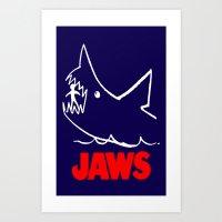 jaws Art Prints featuring Jaws by IIIIHiveIIII