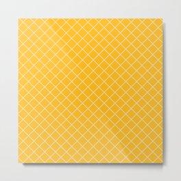 Yellow Diamond Grid Metal Print