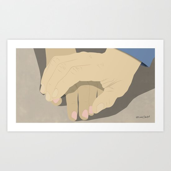That moment when he tentatively reaches to hold her hand for the first time... Art Print