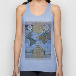 World map wall art 1600 dorm decor mappemonde Unisex Tank Top