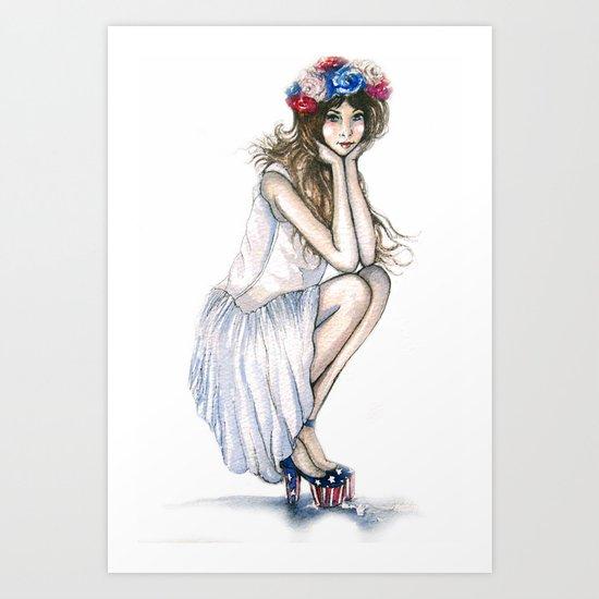 Fourth of July // Fashion Illustration Art Print