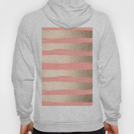 Painted Stripes Tahitian Gold on Coral Pink Hoody