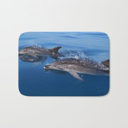 Mother and baby spotted dolphin Bath Mat