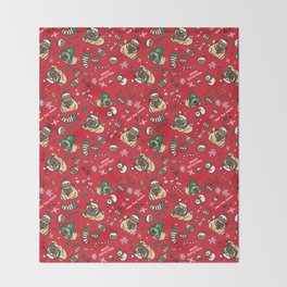 Christmas pattern with pugs Throw Blanket