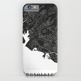 Honolulu Hawaii Minimal Black Mono Street Map iPhone Case