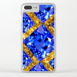 ASYMMETRIC ROYAL BLUE SAPPHIRE GEMSTONES ART ON GOLD Clear iPhone Case