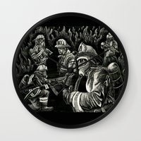 heroes Wall Clocks featuring Heroes by Joshua Anthony