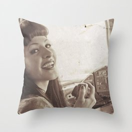 """Roger That"" - The Playful Pinup - Sepia Weathered Air Force Pinup Girl by Maxwell H. Johnson Throw Pillow"