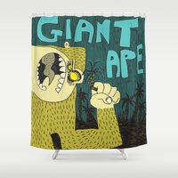 ape Shower Curtains featuring Giant Ape by Steve Steiner