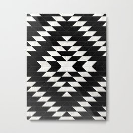 Urban Tribal Pattern 14 - Aztec - Black Concrete Metal Print