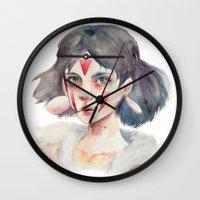 princess mononoke Wall Clocks featuring Princess Mononoke by Kazel
