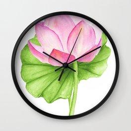 Lotus flower. Watercolor drawing Wall Clock