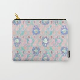 Lotus flower - powder pink woodblock print style pattern Carry-All Pouch