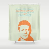 dean winchester Shower Curtains featuring Dean Winchester w/ quote by Jess Symons