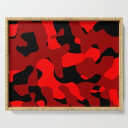 Black and Red Camo abstract Serving Tray