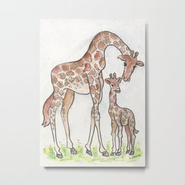 Giraffe and Her Calf Metal Print
