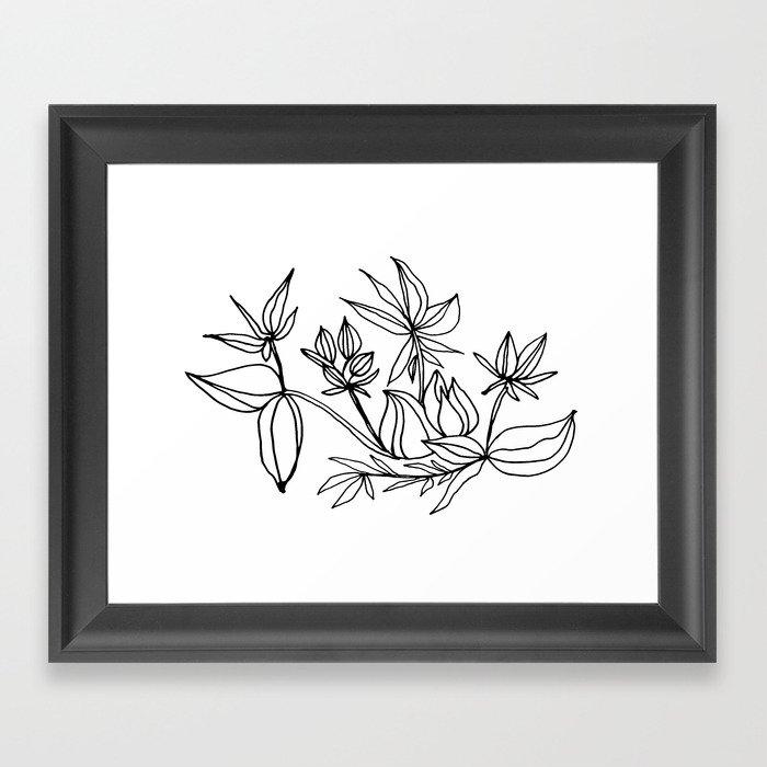 Minimalist Ink Floral / Black and White Framed Art Print